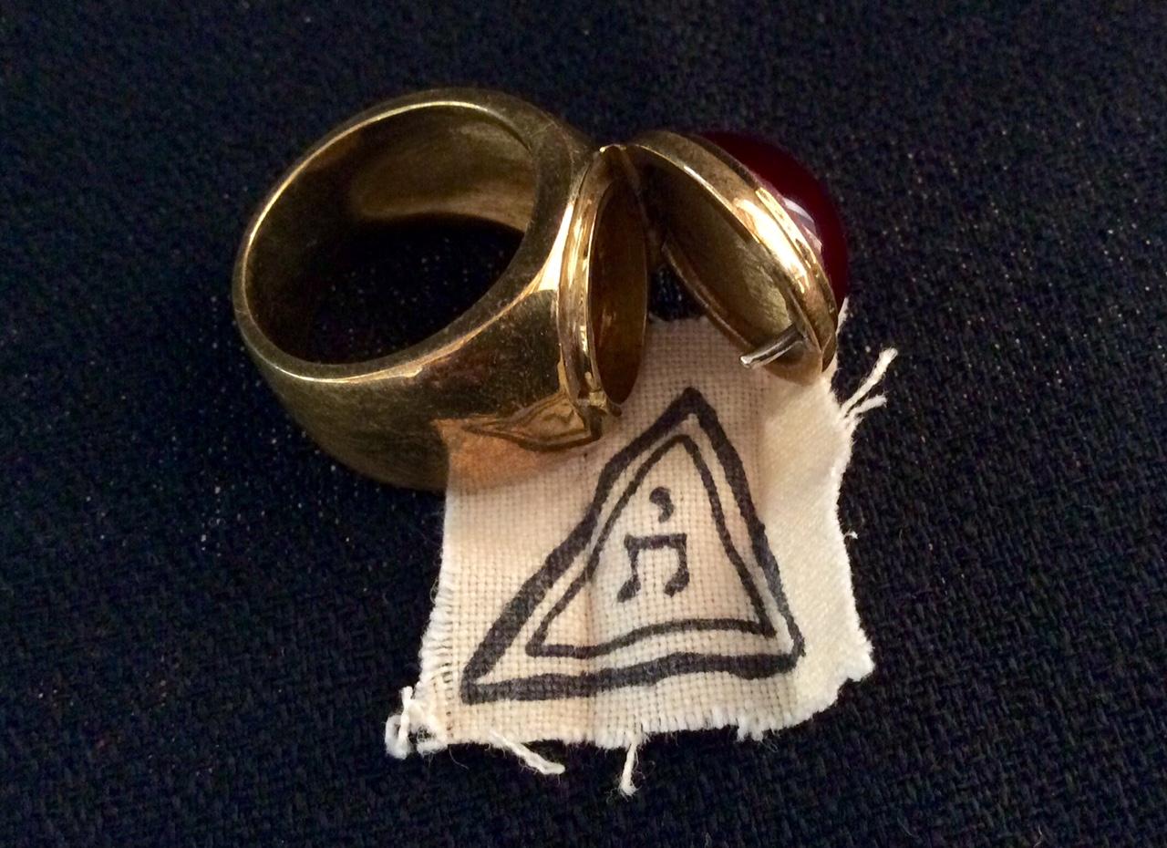 Bague ouvert chevalier et suaire de thomas triangle secret inri